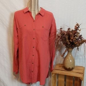 Free People Red Button Down Long Sleeve Tunic